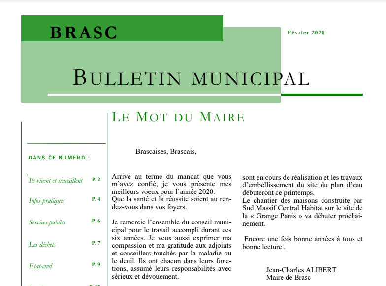 Vignette Bulletin Municipal Brasc 2020